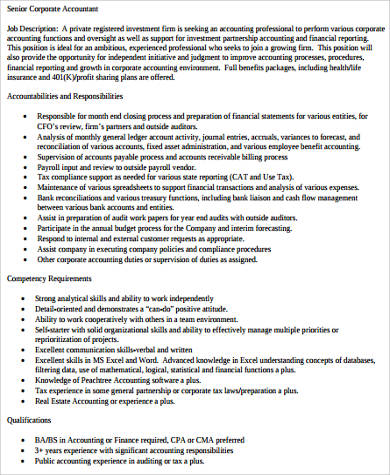 9+ Senior Accountant Job Description Samples Sample Templates - senior accountant job description