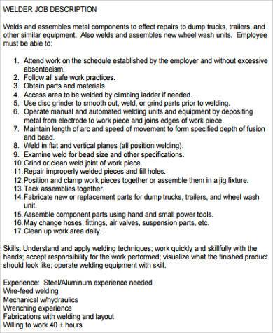 Sample Welder Job Description - 9+ Examples in Word, PDF