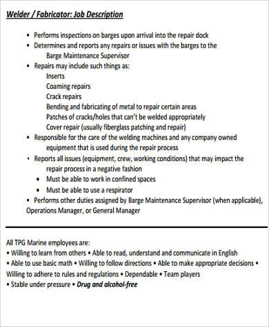 job description for welder - Ozilalmanoof - welder job description