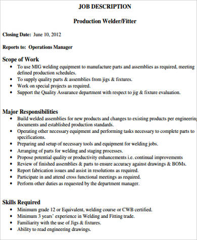 welder job description - Ozilalmanoof - welder job description