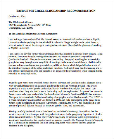 recommendation letter for a scholarship for a student - Walter
