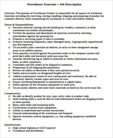 8+ Warehouse Associate Job Description Samples Sample Templates