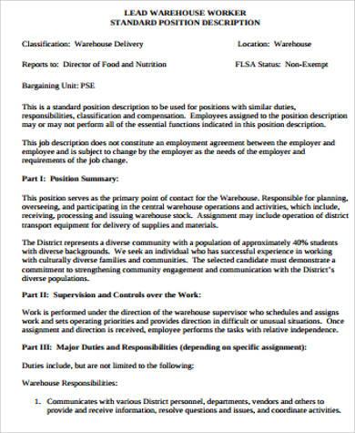 Warehouse Associate Job Description Sample   8+ Examples In Word, PDF   Warehouse  Associate Amazing Design