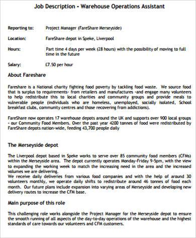 operations associate job description - Boatjeremyeaton - warehouse associate job description