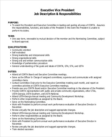 9+ Vice President Job Description Samples Sample Templates