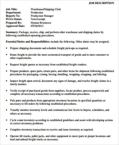 Warehouse Associate Job Description Sample 8 Examples In Word Pdf Warehouse  Associate