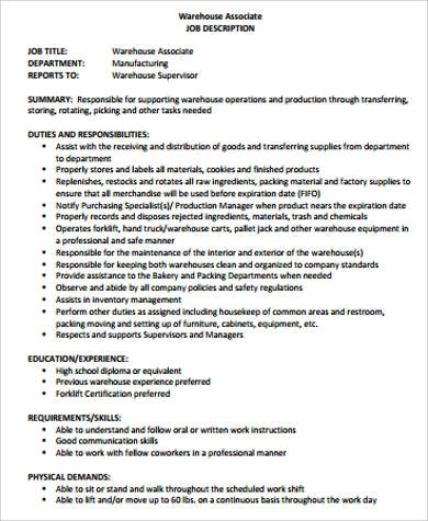 Beautiful Warehouse Associate Job Description Contemporary  Best
