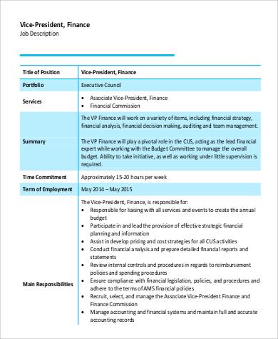 9+ Vice President Job Description Samples Sample Templates