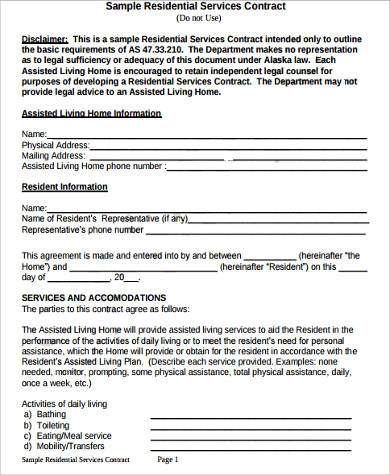 Residential Service Contract Sample - 6+ Examples in Word, PDF