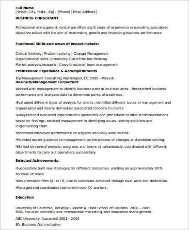 Sample Consulting Resume - 8+ Examples in Word, PDF