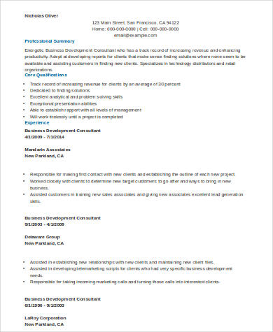 8+ Sample Consulting Resumes Sample Templates - consultant resume examples