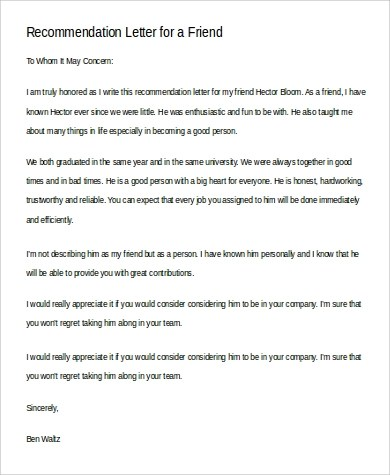 6+ Sample Recommendation Letters for a Friend Sample Templates