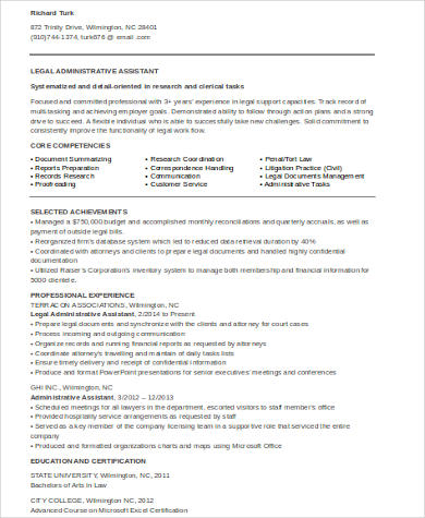 8+ Sample Legal Assistant Resumes Sample Templates - legal administrative assistant resume