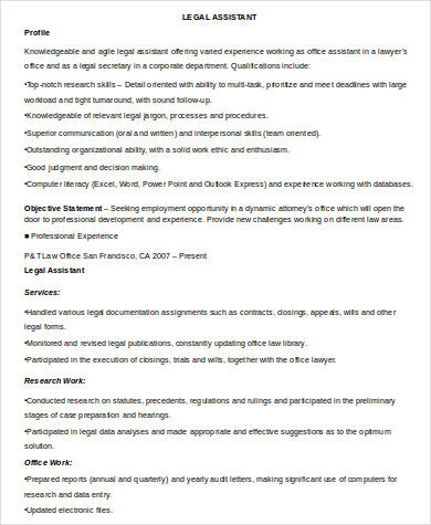 8+ Sample Legal Assistant Resumes Sample Templates
