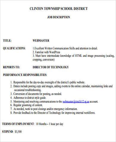 webmaster job description corporate executive chef job