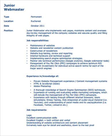 webmaster job description sample school social work intern job ...