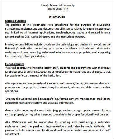 Sample Webmaster Job Description - 8+ Examples in Word, PDF