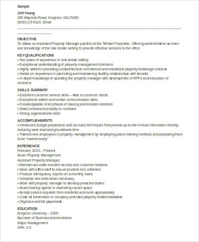 Sample Property Manager Resume - 9+ Examples in Word, PDF