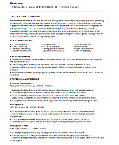 8+ Sample Photography Resumes Sample Templates
