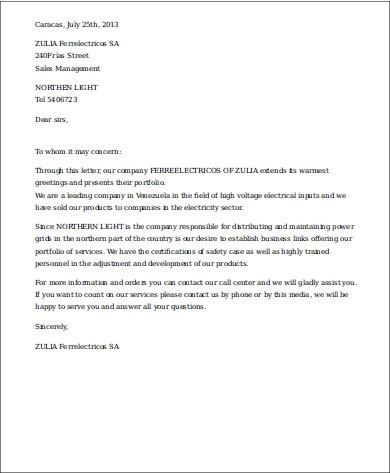 Sample Business Introduction Letters Sample Templates