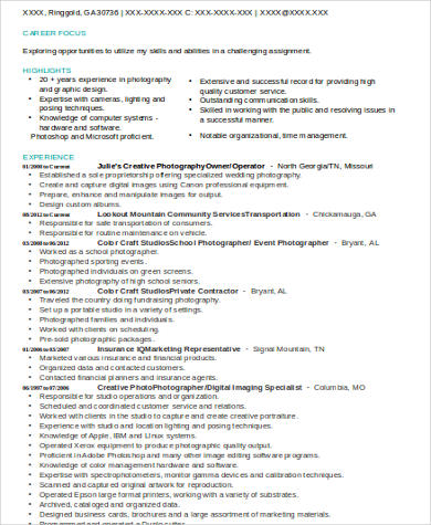 Sample Photography Resume - 8+ Examples in Word, PDF