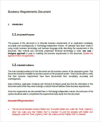 9+ Requirements Document Samples Sample Templates - business requirements document template