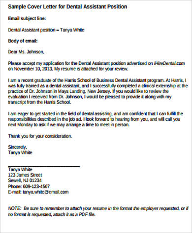 9+ Sample Dental Assistant Cover Letters Sample Templates - dental assistant cover letter