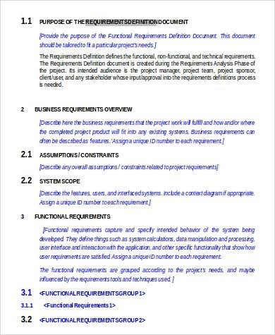 Requirement Document Sample - 9+ Examples in Word - business requirement documents