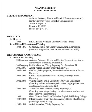 9+ Sample Theatre Resumes Sample Templates