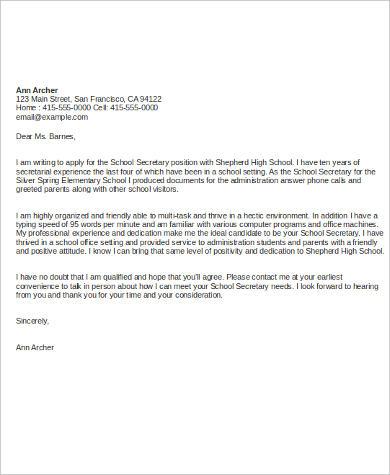 7+ Cover Letter Samples For Job Sample Templates - school secretary cover letter