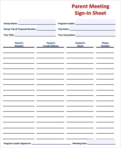 8+ Sample Meeting Sign-In Sheets Sample Templates