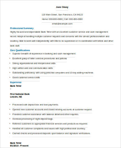 Sample Bank Teller Resume - 7+ Examples in Word, PDF