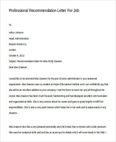 9+ Sample Professional Letters of Recommendation Sample Templates - professional letter of recommendation
