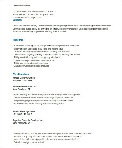 8+ Sample Security Officer Resumes Sample Templates - government armed security guard sample resume