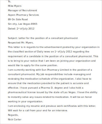 8+ Sample Consulting Cover Letters Sample Templates - pharmacist cover letter