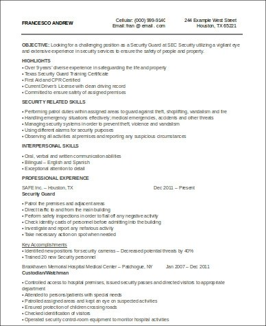 Sample Security Officer Resume - 8+ Examples in Word, PDF - security guard resume