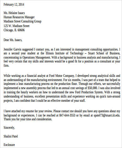 Sample Consulting Cover Letter - 8+ Examples in Word, PDF