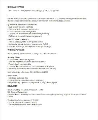 sample security officer resume 8 examples in word pdf security supervisor resume - Sample Security Manager Resume