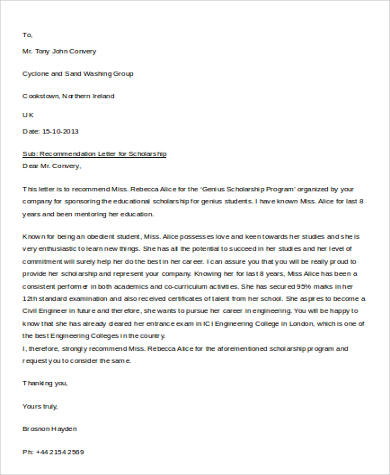 Sample Letter of Recommendation For Scholarship - 8+ Examples in