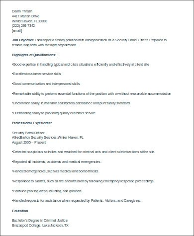 8+ Sample Security Officer Resumes Sample Templates