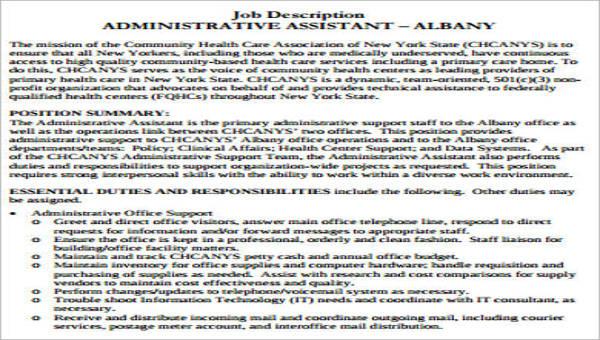 7+ Healthcare Administration Job Description Samples Sample Templates