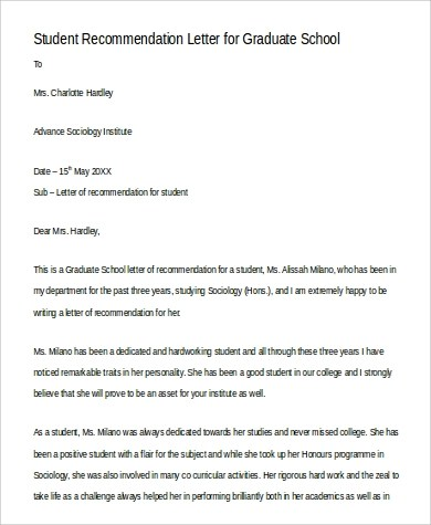 8+ Sample Recommendation Letters for Graduate School - PDF, Word