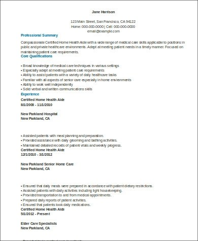 Sample Home Health Aide Resume - 7+ Examples in Word, PDF - home health aide resume sample