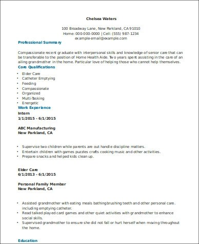 7+ Sample Home Health Aide Resumes Sample Templates - home aide resume