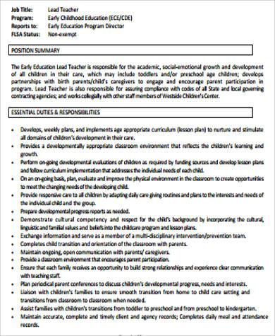 6+ Sample Preschool Teacher Resumes Sample Templates - teacher job description resumes