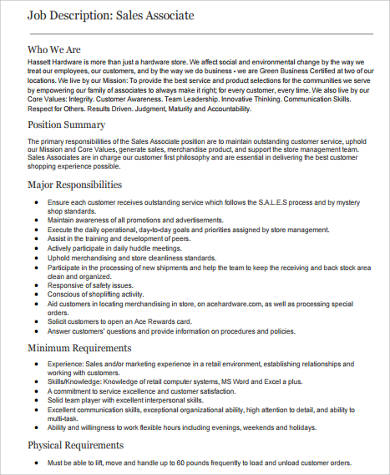 Sample Retail Sales Associate Job Description - 6+ Examples in Word,PDF