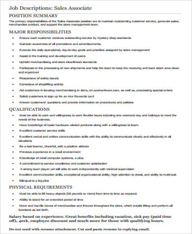 job description retail sales associate
