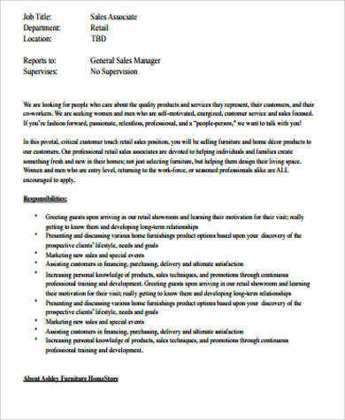 6+ Retail Sales Associate Job Description Samples Sample Templates