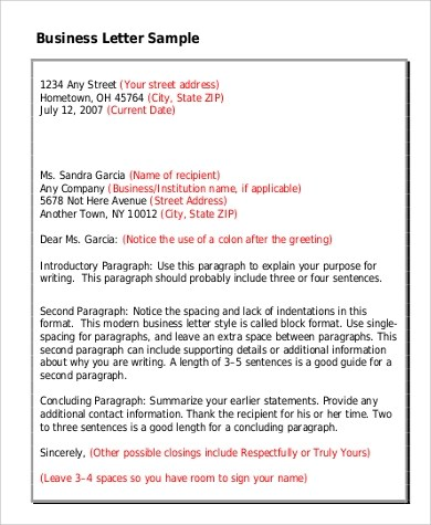9+ Standard Business Letter Format Samples Sample Templates - sample standard business letter