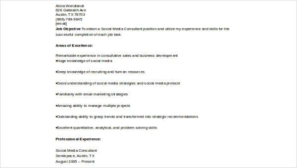 Sample Social Media Resume - 8+ Examples in Word, PDF